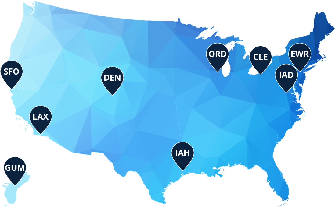 Map of USA with United Hubs